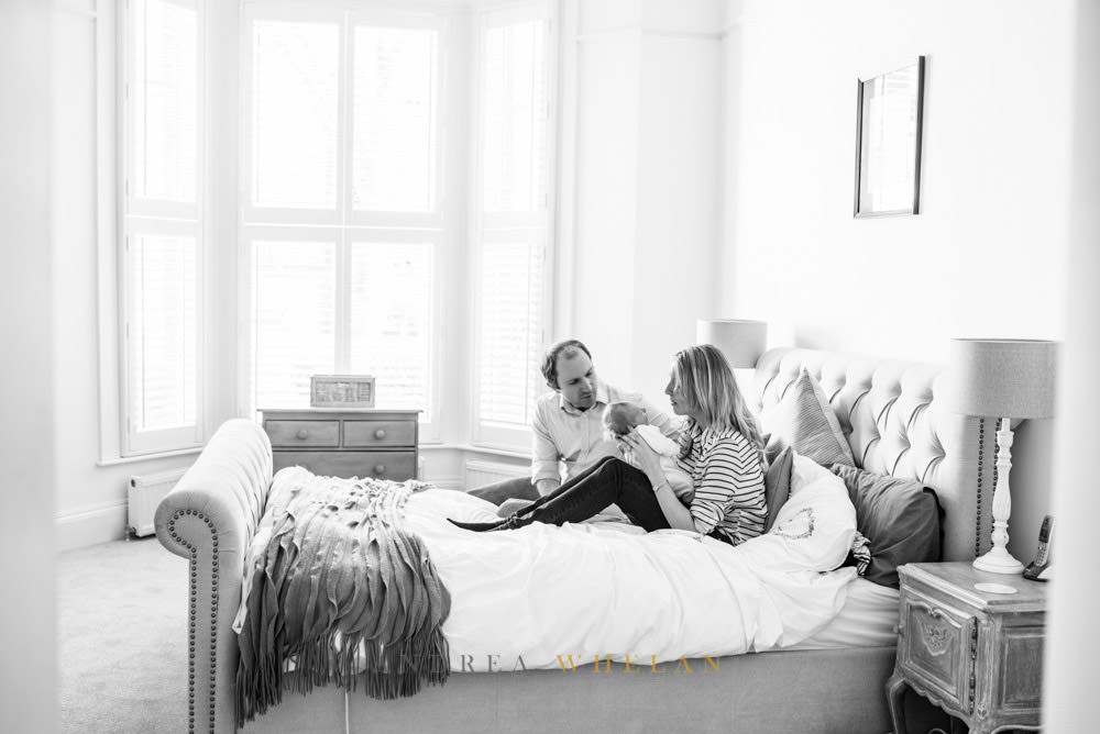 Relaxed newborn family portraits London