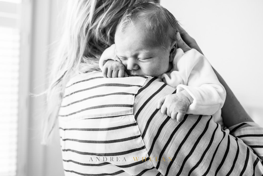 Black and white lifestyle baby photo
