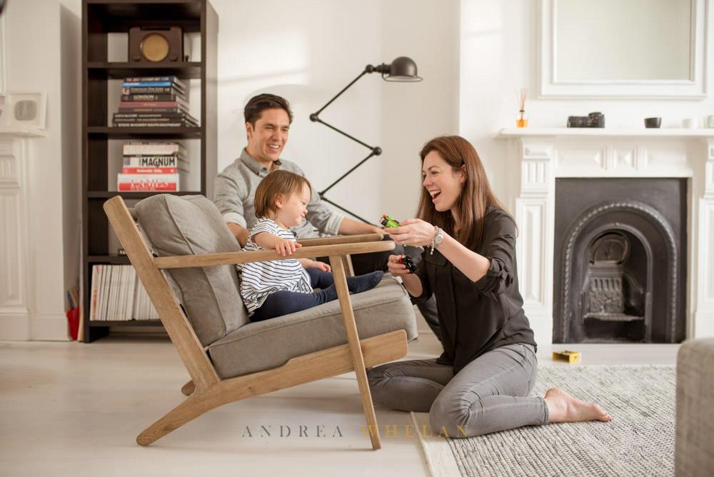 Mid-century modern interior family portrait photography