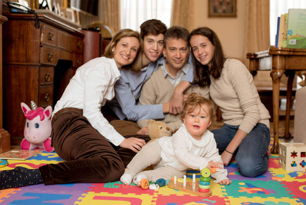 relaxed family portrait at home