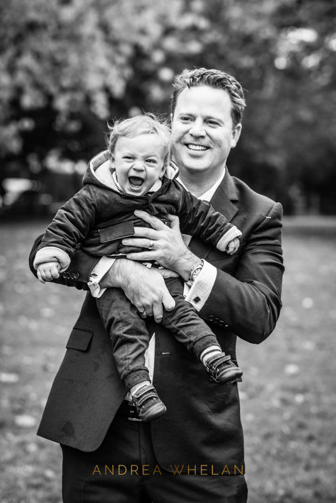 father and son portrait black and white