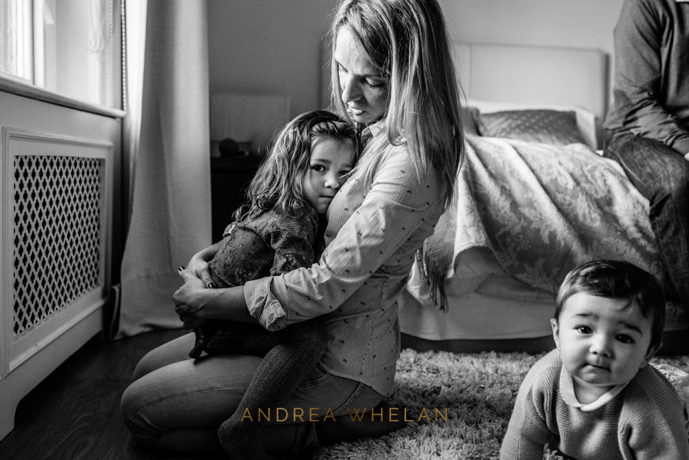 natural mother and daughter portrait at home