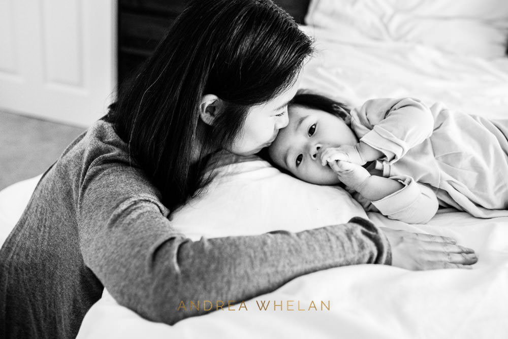 mother and daughter black and white photography