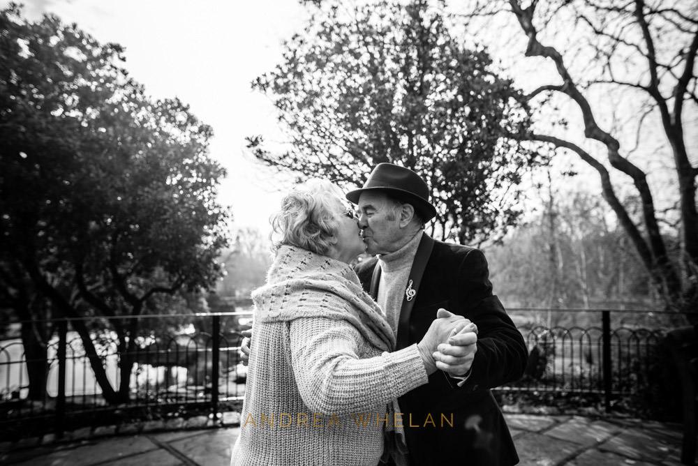 Parents kissing